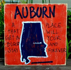 Southern College Towns Hand Pained Wood Sign.  Auburn Univ.  War Damn Eagle.  BourbonandBoots.com