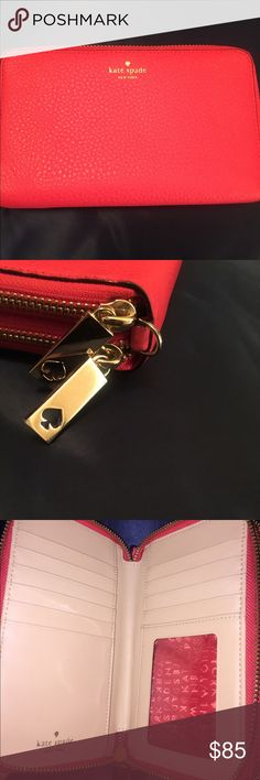 ♠️Kate Spade Wallet ♠️Gorgeous Kate Spade wallet! Great condition! Beautiful watermelon (orange/red) in color! Double zip to keep everything in order for you ☺️ kate spade Bags Wallets