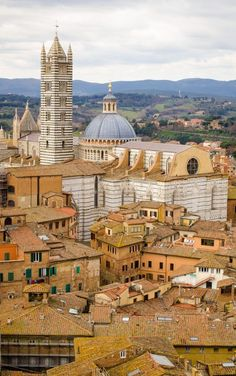 The roofs of #Siena: aerial image of Siena, with its picturesque medieval houses and buildings and the back of the Cathedral of Santa Maria Assunta, with its Bell Tower. Follow us on Instagram: http://instagram.com/sunnytuscanytours