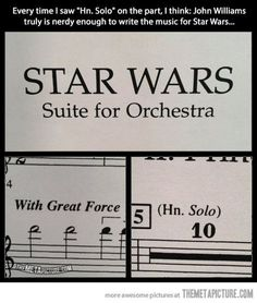 Oh John Williams… XD love it! Horn actually has the melody in some of the main themes of the movies
