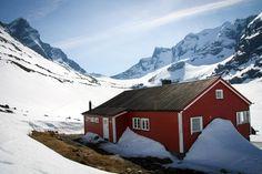 Tindeklubbhytta at the base of the Hurrungane Mountains, Norway