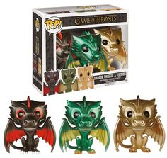 Vinyl Funko Pop Drogon Rhaegal and Viserion Metallic 3 Pack RARE VAULTED