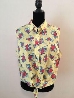 Lauren Ralph Lauren Yellow Floral Sleeveless Top Tie Front Size 2X #LaurenRalphLauren #ButtonDownShirt #Casual