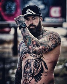 Hot tattoos, body art tattoos, tattoos for guys, tatted men, hommes sexy Sexy Tattooed Men, Bearded Tattooed Men, Handsome Bearded Men, Scruffy Men, Bart Tattoo, Tatto Boys, Tatted Men, Hot Guys Tattoos, Rugged Men