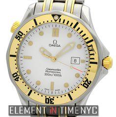 #Omega #Seamaster 300 M Quartz Steel & 18k Yellow Gold White Dial 2342.20.00