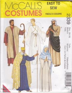 Items similar to Nativity Play Biblical Costumes McCalls 8435 Sewing Pattern Chest 36 38 Wise Men Angel Mary Joseph Shephard Costumes Halloween Adult Costume on Etsy Costume Halloween, Mary Costume, Christmas Costumes, Biblical Costumes, Adult Costumes, Nativity Costumes, Christmas Pageant, Christmas Program, Costume Patterns