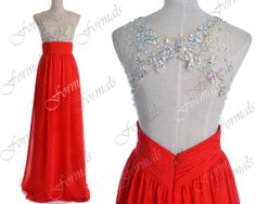 2014 Red Prom Dresses Red Formal Dresses Straps Lace/ by Formals, $169.00