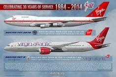 Virgin Atlantic 30 Years of Service Boeing 747-2 G-VIRG 787-9 G-VNEW Aircraft Art