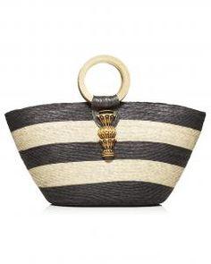 Summer Bag.  Carla Fernandez, Brown & Natural Striped Bag