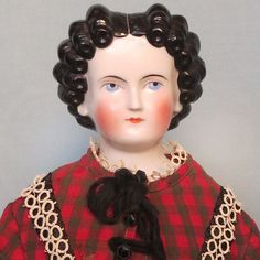 Antique German China Head Lady with Black Finger Curls