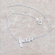 Sterling Silver 925 Faith Anklet Ankle Bracelet