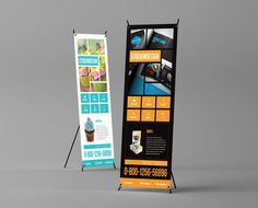 Design FREEBIE! High quality, print ready roll up banner template. Pay with a tweet =D via @Adobe