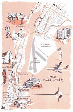 Old Map of Old San Juan, Puerto Rico