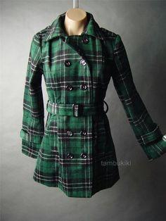 Green plaid pea coat
