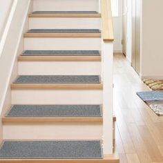 Well Woven Kings Court Warby Grey Modern Solid Plain Rubber Back Non-Skid 9 in. x 31 in. Stair Tread Cover (Set of - - The Home Depot Stair Tread Covers, Stair Tread Rugs, Carpet Stair Treads, Carpet Stairs, Stairs Half Carpet Half Wood, Stair Railing, Stair Treds, Removing Carpet From Stairs, Railing Ideas