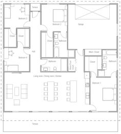 House Plan Modern House Plan to Modern Family. Family House Plans, Dream House Plans, House Floor Plans, My Dream Home, Backyard Cottage, Closet Bedroom, Modern Family, Next At Home, Home Projects