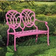 wrought iron bench, pink