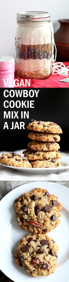Vegan Cowboy Cookies Mix makes great Jar gifts for the Holiday Season. Layer oats, flour, coconut, chocolate sugar and pecans. Mix, add applesauce and oil, and bake. #veganricha #Vegan #Recipe Can be #glutenfree | VeganRicha.com