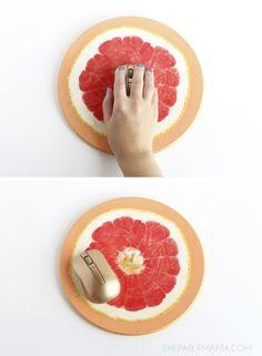 Day 15 Gift Idea: Grapefruit Mouse Pad DIY