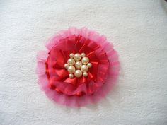 DIY Tulle and Ribbon Flower Hair Clip