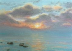 Skyscape and water soft pastel painting Stone by wonderfulstore