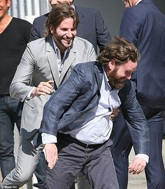 Zach gets some: Bradley Cooper and Zach Galifianakis horse around at photoshoot for The Hangover Part 3 Hangover Part 3, Brad Cooper, Zach Galifianakis, A Star Is Born, My Boo, Best Couple, Cinema, Photoshoot, Guys