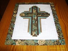 New pieced MINIATURE brown and teal log cabin cross quilt top