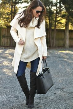 Winter fashion made easy with this ivory drape front winter coat. Winter style via Peaches In A Pod.