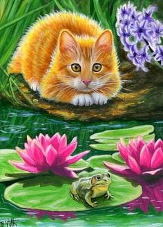 A Friend at Ginger's Pond by Bridget Voth (small size at Animal Paintings, Animal Drawings, Art Paintings, Painting Art, Animals And Pets, Cute Animals, Spring Landscape, Photo Chat, Ginger Cats