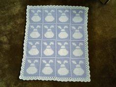 Baby Bunny Blanket by CuddleinCrochet on Etsy