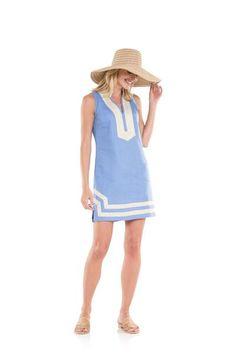 The Classic Sleeveless linen Tunic Dress Hydrangea