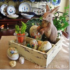 Rustic Box Dressed for Easter via Confessions of a Plate Addict Hoppy Easter, Easter Bunny, Easter Eggs, Diy Ostern, Easter Crafts, Easter Decor, Easter Centerpiece, Easter Ideas, Simple Centerpieces