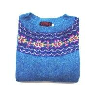 O'Connell's Womens Scottish Shetland Sweater - Fair Isle - Azure