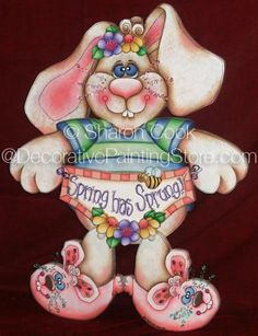The Decorative Painting Store: Spring Has Sprung Bunny Pattern by Sharon Cook, Sharon Cook