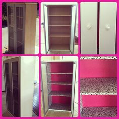 My #DIY #Ikea furniture glam redo. This is my 8'ish year old makeup storage cabinet that I almost threw away. Instead I gave it an easy face lift so it now goes with the style of my new makeup studio. I spray painted the outside glossy white (Rustoleum Universal really is the best! No sanding or primer needed!), black & white damask pattern contact paper for the inside walls & shelves & the back wall I spray painted hot pink. The doors I left as is (brushed silver but thinking of making it a shi