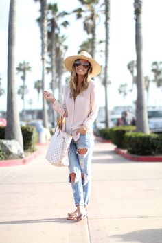 Blush + Distressed Denim | Mission Beach, CA For All Things Lovely waysify