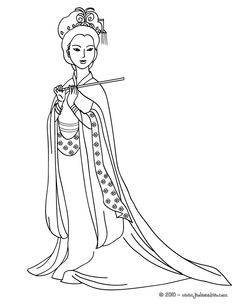 Chinese Coloring Pages for Adults | Coloriage PRINCESSE CHINOISE