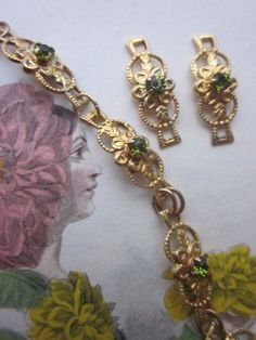 Olive Green  Crystal Flower Finding With Hoops by WhoKnowsWhat