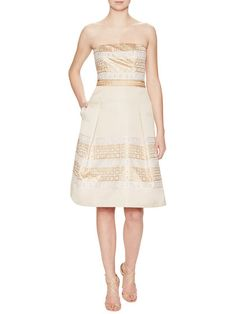 Strapless Embroidered Dress by Carolina Herrera at Gilt