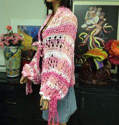 Hand Knit Cotton Shrug Bohemian Spring Summer Lace Designer Fashion Stylish   | eBay