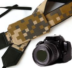 Camouflage camera strap with cap pocket. Durable, light weight and well padded camera strap. Camera Accessories, Handmade Accessories, Sony Camera, Nikon Cameras, Photo Bag, Military Camouflage, Camera Straps, Binoculars, Louis Vuitton Damier