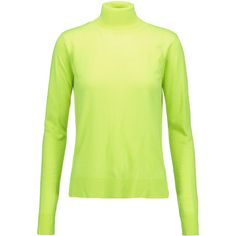 MM6 Maison Margiela - Neon Wool-blend Turtleneck Sweater (9.540 RUB) ❤ liked on Polyvore featuring tops, sweaters, chartreuse, neon green sweater, green turtleneck sweater, mm6 maison margiela, neon green top and turtleneck sweater