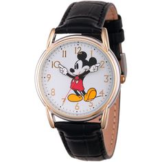 Disney Womens Black And Rose Gold Tone Vintage Mickey Strap Watch... (53 AUD) ❤ liked on Polyvore featuring jewelry, watches, leather jewelry, leather strap watches, mickey mouse watches, vintage wrist watch and leather-strap watches