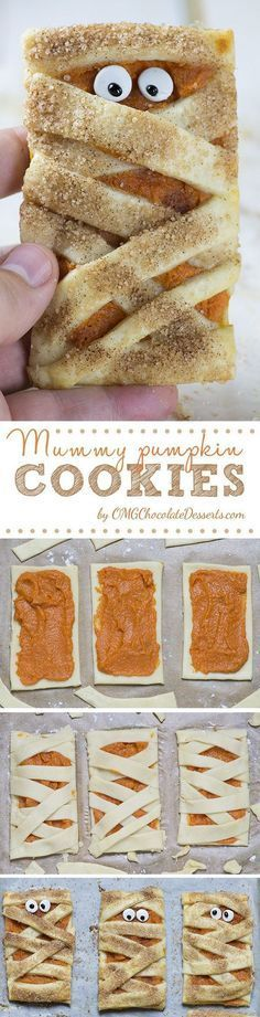 The BEST Halloween Party Recipes {Spooktacular Desserts, Drinks, Treats, Appetizers and More!} Halloween Party Treats Appetizers and Desserts Recipes - Mummy Pumpkin Cookies Recipe via OMG Chocolate Desserts Halloween Desserts, Postres Halloween, Halloween Party Treats, Halloween Goodies, Holiday Treats, Spooky Halloween, Halloween Baking, Halloween Appetizers, Halloween Recipe