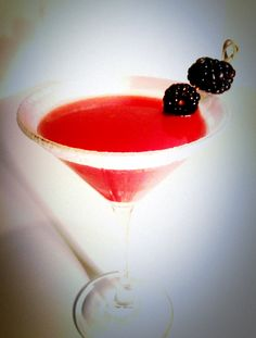 Bella: 2 oz vodka, 0.25 oz Harlequin orange liqueur, 1 oz simple syrup, 1 oz fresh lemon-lime juice (1:1), 2 tbl fresh blackberry purée | Combine, add ice, shake. Strain into martini glass rimmed with baker's sugar; garnish with berries. | Recipe by Lucy Brennan, Mint/820, Portland, OR. | iPhone 4 photo by Shawn Vitt