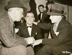 James Cagney visiting lloyd and pat on set of cowboy from brooklyn 1938