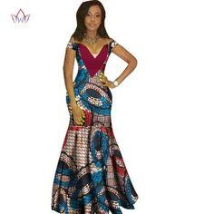 African Women Dashiki Print Bazin V-Neck Long Dress African Dashiki Dress, African Dresses For Women, African Attire, African Wear, African Fashion Dresses, African Women, African Fashion Designers, African Print Fashion, Africa Fashion