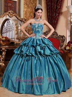 70cfc6b88ec Buy sweetheart teal appliqued taffeta dress for quince with pick ups and  flowers from teal quinceanera dresses collection