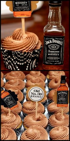 Jack Daniel's chocolate frosted vanilla cupcakes (I keep seeing this picture aro. Jack Daniel's chocolate frosted vanilla cupcakes (I keep seeing this picture around with no recip Jack Daniels Torte, Bolo Jack Daniels, Jack Daniels Cupcakes, Jack Daniels Chocolate, Festa Jack Daniels, Jack Daniels Wedding, Jack Daniels Drinks, Jack Daniels Birthday, Whiskey Cupcakes