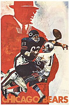 """Chicago Bears • 1968 • 24 x 36"""" • Offset-Lithograph • INV. #13802 • Original NFL CHICAGO BEARS football poster from 1968.    This poster is over 45 years old and is in very good condition and ready to frame."""